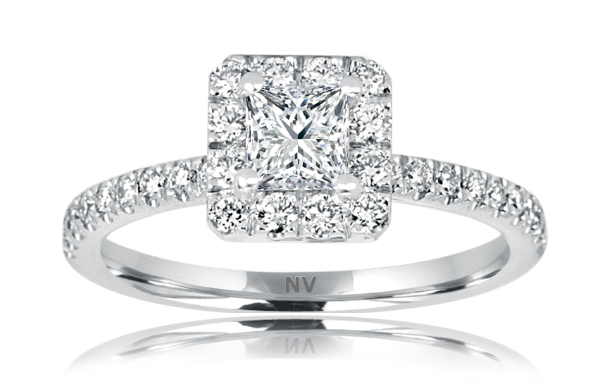 18ct White Gold Ladies Halo engagement ring set with 1x.50ct Princess cut Diamond, AUSCERT Certified Colour E, Clarity VS2 and 30=.36ct round brilliant cut diamonds.