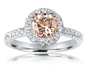 18ct white gold ladies ring set with 6.00mm Morganite and 42=.35ct round brilliant cut diamonds.