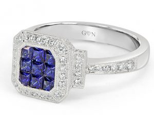 Blue Stone Diamond Engagement Ring