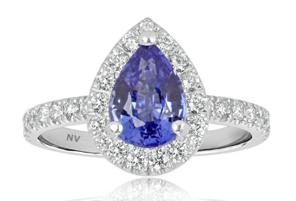 Halo Coloured Platinum ladies ring