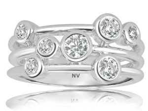 Multi Set 18ct white gold ladies ring