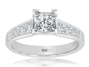 18ct white gold ladies ring set with 1x.74ct Princess cut diamond, AUSCERT Certified, Colour F, Clarity VS2 and 8=.40ct round brilliant cut diamonds.