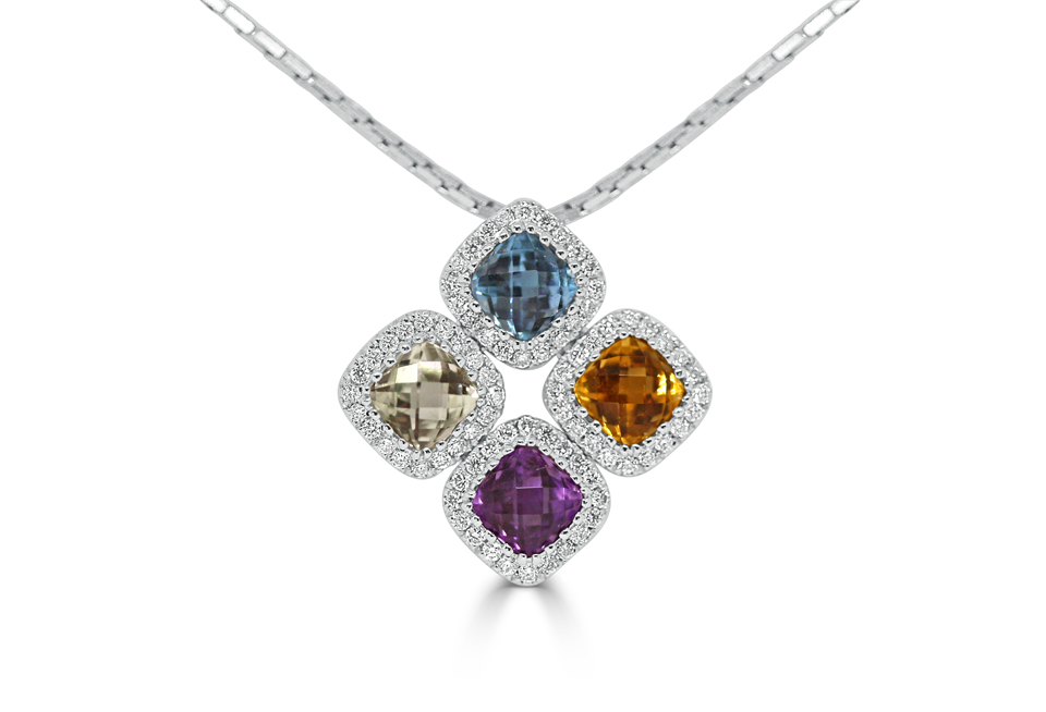 18ct White Gold Ladies Pendant set with 1x Peridot, 1xAmythest, 1xCitrine and 1x Blue Topaz all cushion cut and 80=.31ct round brilliant cut diamonds. $1450.00