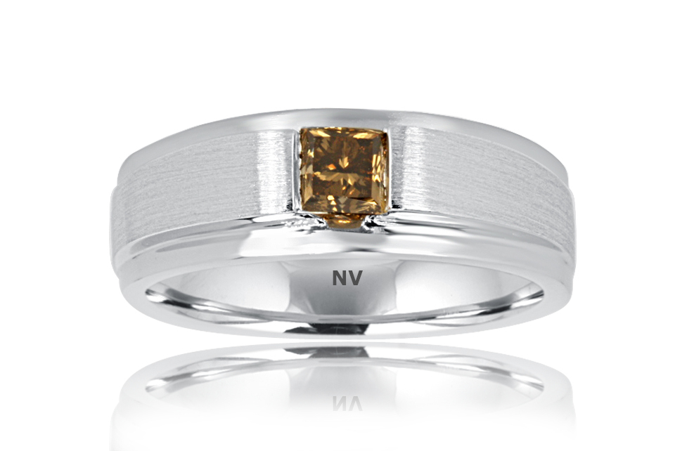 GENTS DIAMOND RING 9ct White Gold Mens ring set with Princess cut Chocolate Coloured Diamond $1550.00