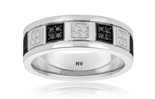 GENTS WEDDING RING 18ct White Gold Mens ring set with Black and White Diamonds $3100.00