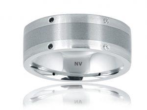GENTS DIAMOND RING 18ct White Gold-Tit Mens wedding ring set with Black and White Diamonds $2500