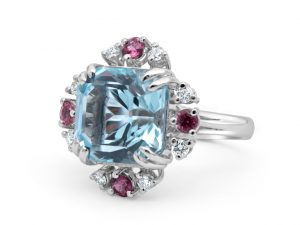 Sky Blue Stone Diamond Engagement Ring