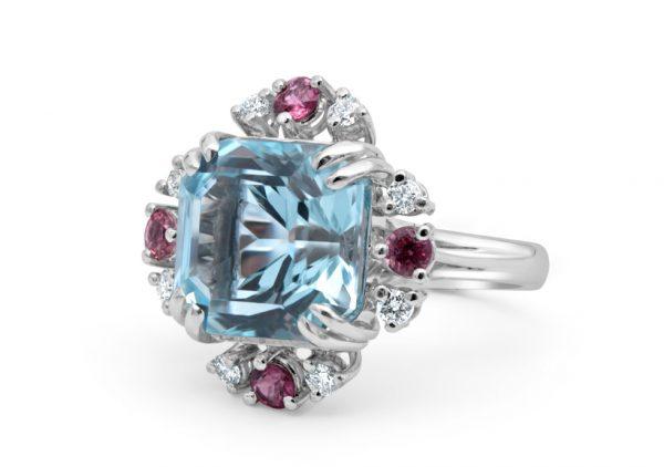 Sky Blue Stone Diamond Engagement Ring